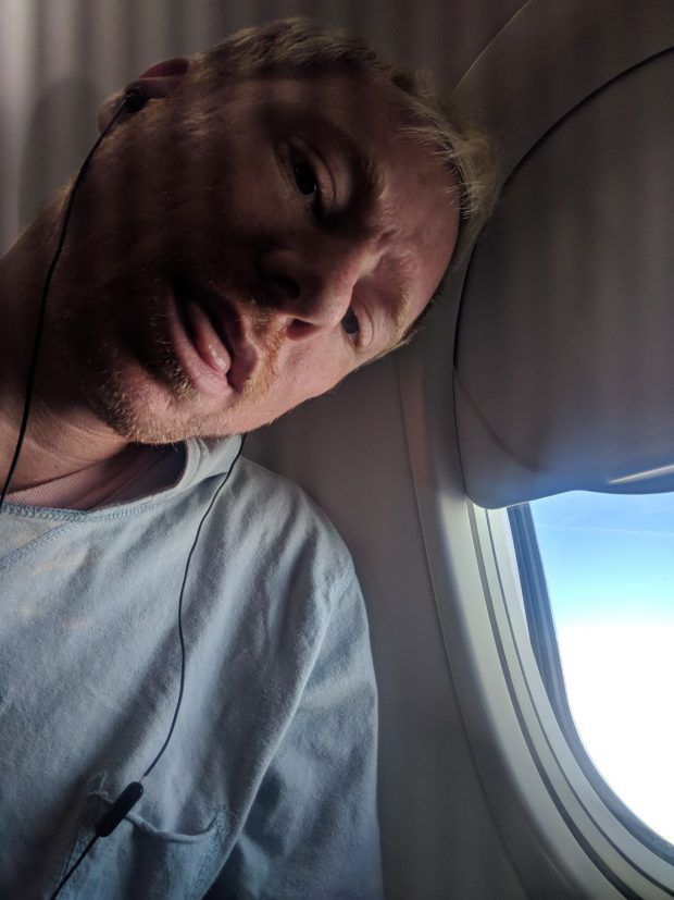 selfie airplane - a listening to music