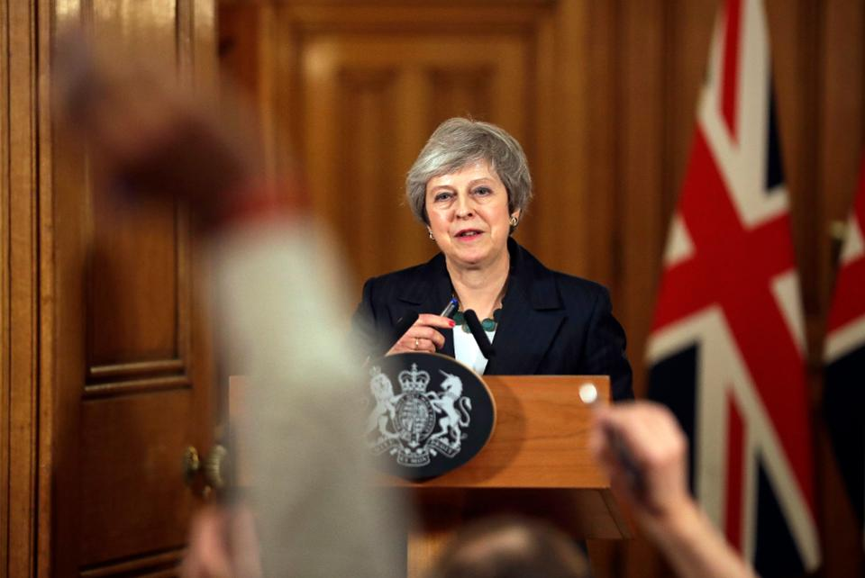 Theresa May holds a press conference in Downing Street