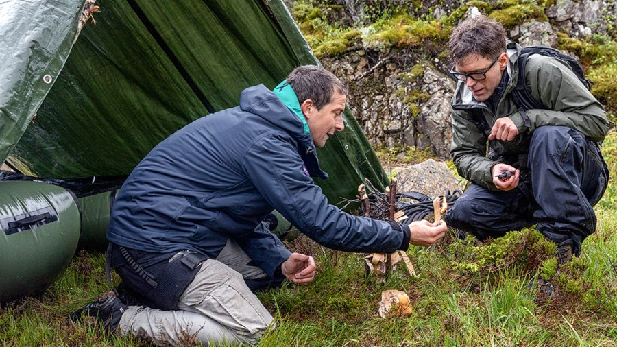 Månafossen, Norway - (L to R) Bear Grylls and Bobby Bones Opened in a National Fireplace THE FIRST DAY OF BEAR GRYLLS. (Photo credit: National Geographic / Ben Simms)