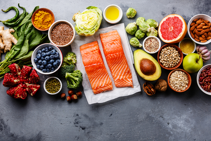 Fish around vegetables, fruits, veggies, and other healthy health choices