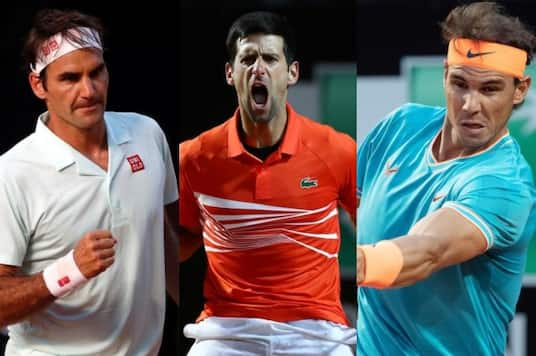 Roger Federer (left) and Rafael Nadal (right) and Novak Djokovic. (Photo Credit: Reuters)